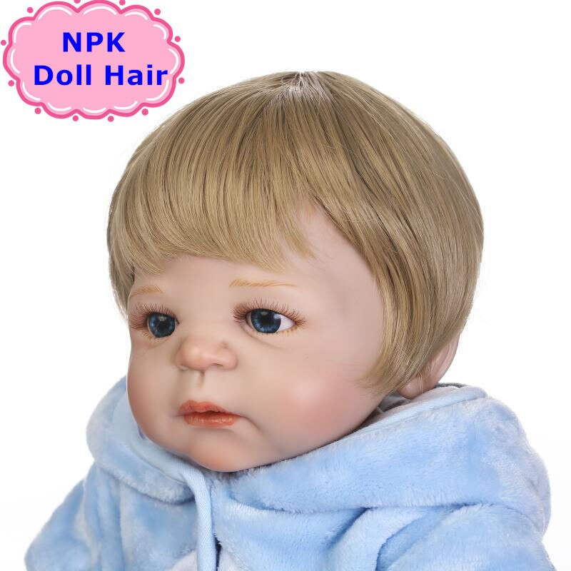 NPK Fashion 55-57CM Bjd/SD/Reborn Doll perruque de cheveux garçon Reborn bébé poupée collée perruque de cheveux Bonecas Reborn perruque de cheveux pour poupées garçon