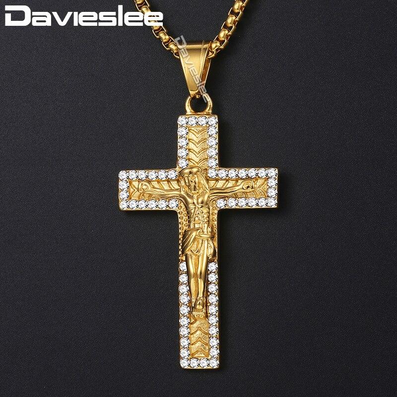 Davieslee, collar con colgante para hombre, crucifijo cruzado, Jesucristo, pendiente con circonita cúbica dorada, colgantes de acero inoxidable para hombres, 3mm DKN589