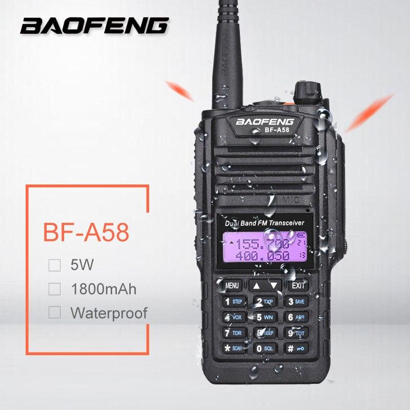 Портативная Водонепроницаемая рация Baofeng, любительская радиостанция, Двухдиапазонная, UHF, VHF, трансивер, радиосканер BF A58 PMR