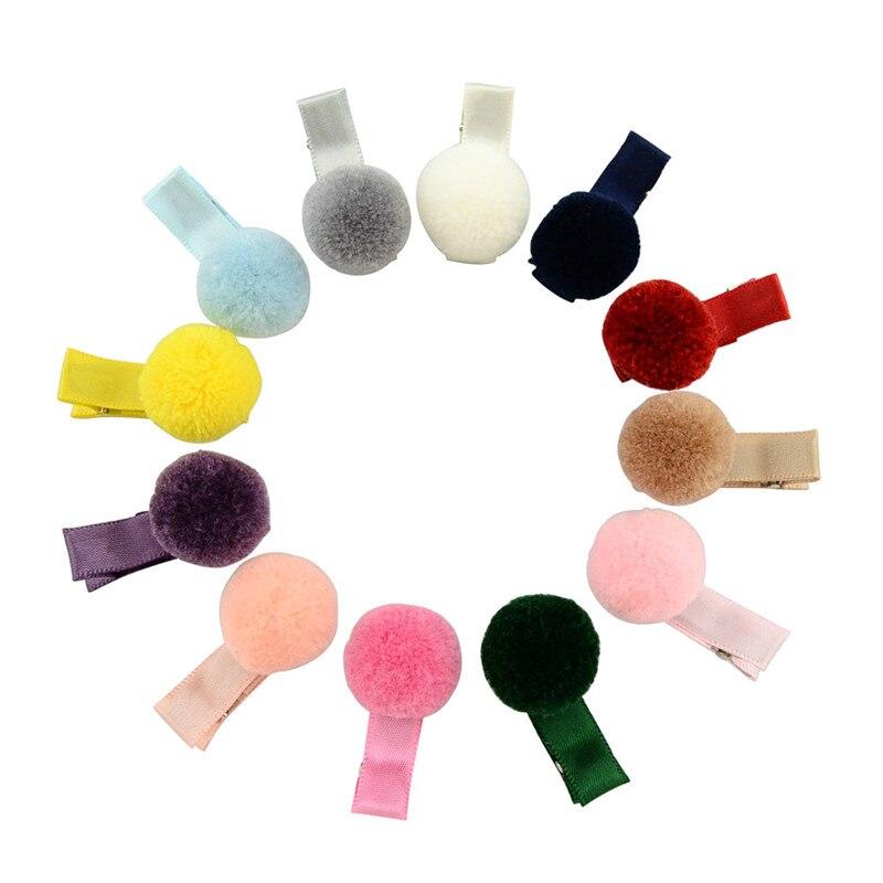 Mixiu 12 pçs/lote bonito coreano pelúcia pompom clipe de cabelo boutique totalmente envolto hairball hairpin headwear acessórios para o cabelo crianças presentes