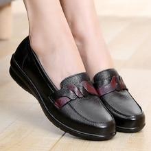 Zapatos de cuero genuino para mujer talla grande 9-10,5 Superstar zapatos de punta redonda para mujer Slip-on 2019 decoración de cinturón de Primavera/otoño