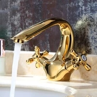 gold brass handle bathroom sink faucet unique design deck mounted copper lavatory faucet cold and hot water mixer tap