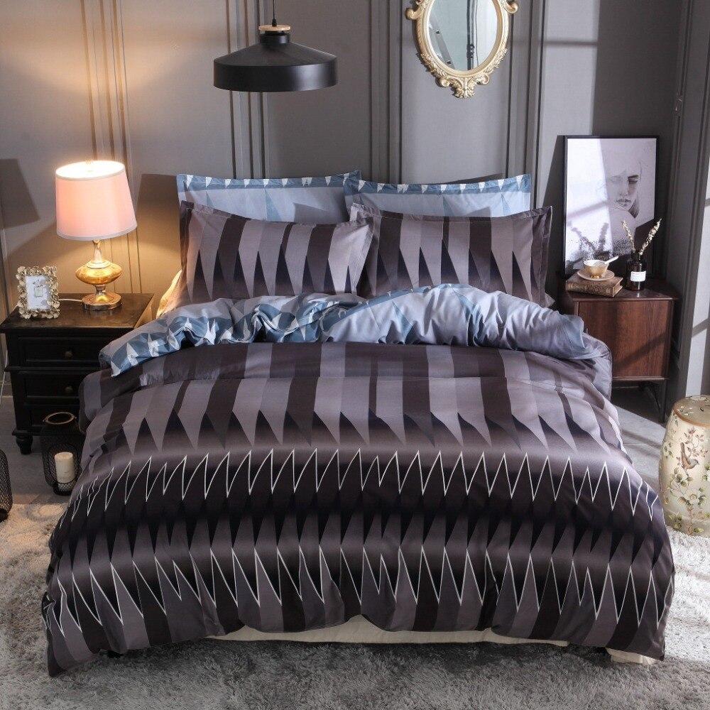 3 uds ropa de cama conjunto 100% de fibra de poliéster de alta calidad abstracto de celosía colcha con motivos geométricos, funda de almohada caso 150*210cm 260*230cm