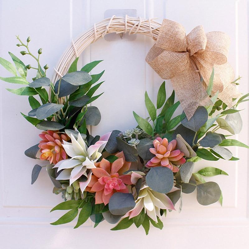 Verde artificial decoración de plantas suculentas guirnalda con cintas simulación guirnalda de PVC hojas de imitación hogar boda decoración colgante de pared