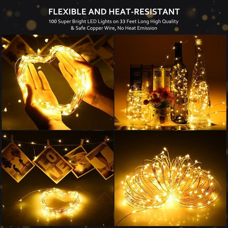 LED húr fény ezüst huzal meleg fehér koszorú otthoni karácsonyi - Üdülési világítás - Fénykép 2