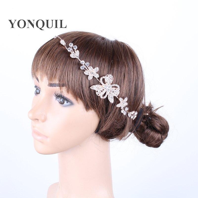 2018 romántica elegante joyería nupcial pelo accesorios para el pelo de la boda de flor de cristal Tiara Hairdwear diadema tocado 2 unids/lote