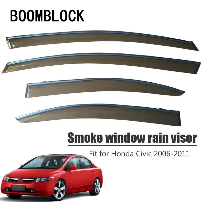 Alta calidad 4 Uds humo ventana visor de lluvia para Honda Civic 2011, 2010, 2009, 2008, 2007, 2006 de ventilación deflectores solares guardia Accesorios