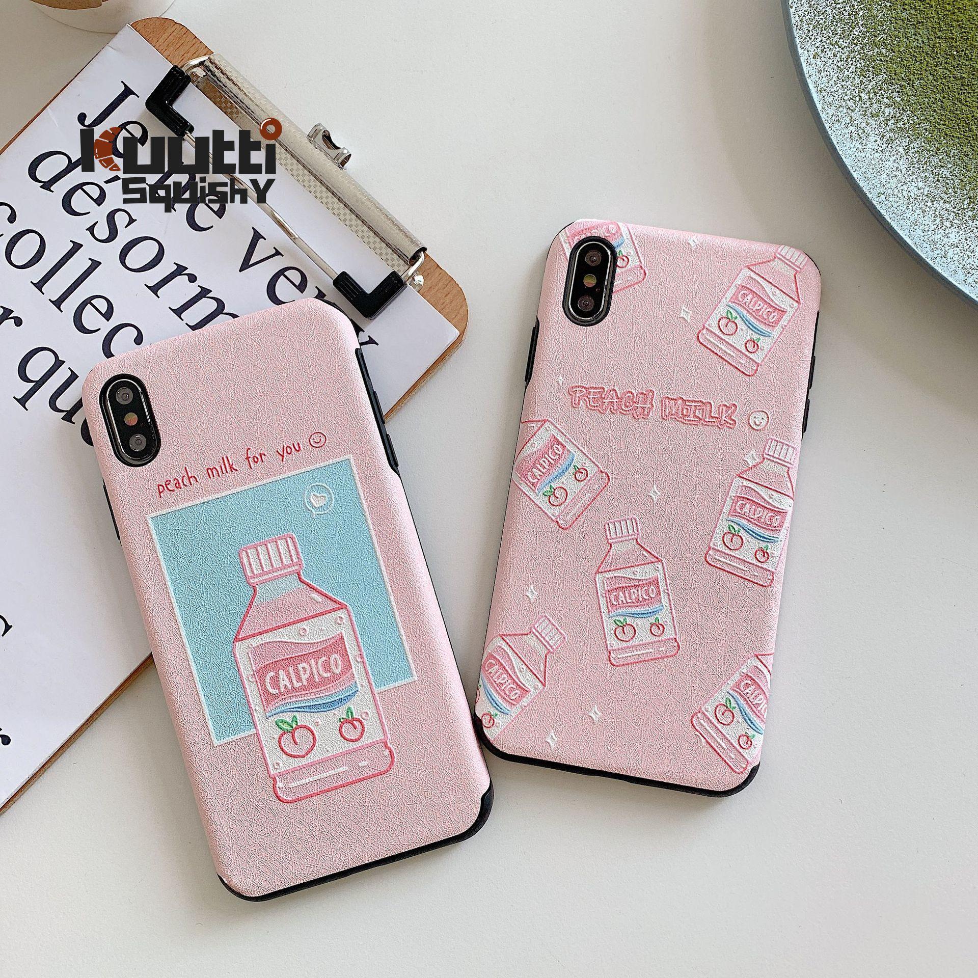 Kuutti Mole Kawaii Leite Pêssego Padrão 3D Relief Phone Cases para iphone 6 6s 7 8 Plus X XR XS Max Capa para iphone 7 plus caso