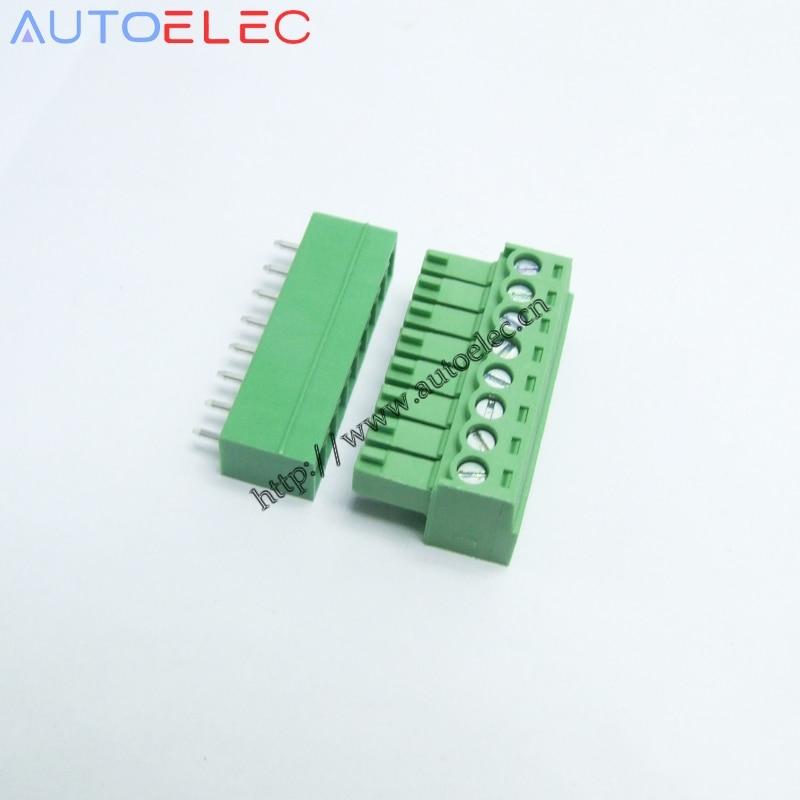 100 set/lote 8 P paso 3,5mm pin recto PHOENIX póngase en contacto con bloques de terminales de pcb de enchufe MC 1,5/8-G-3.50 para PHOENIX Weidmuller