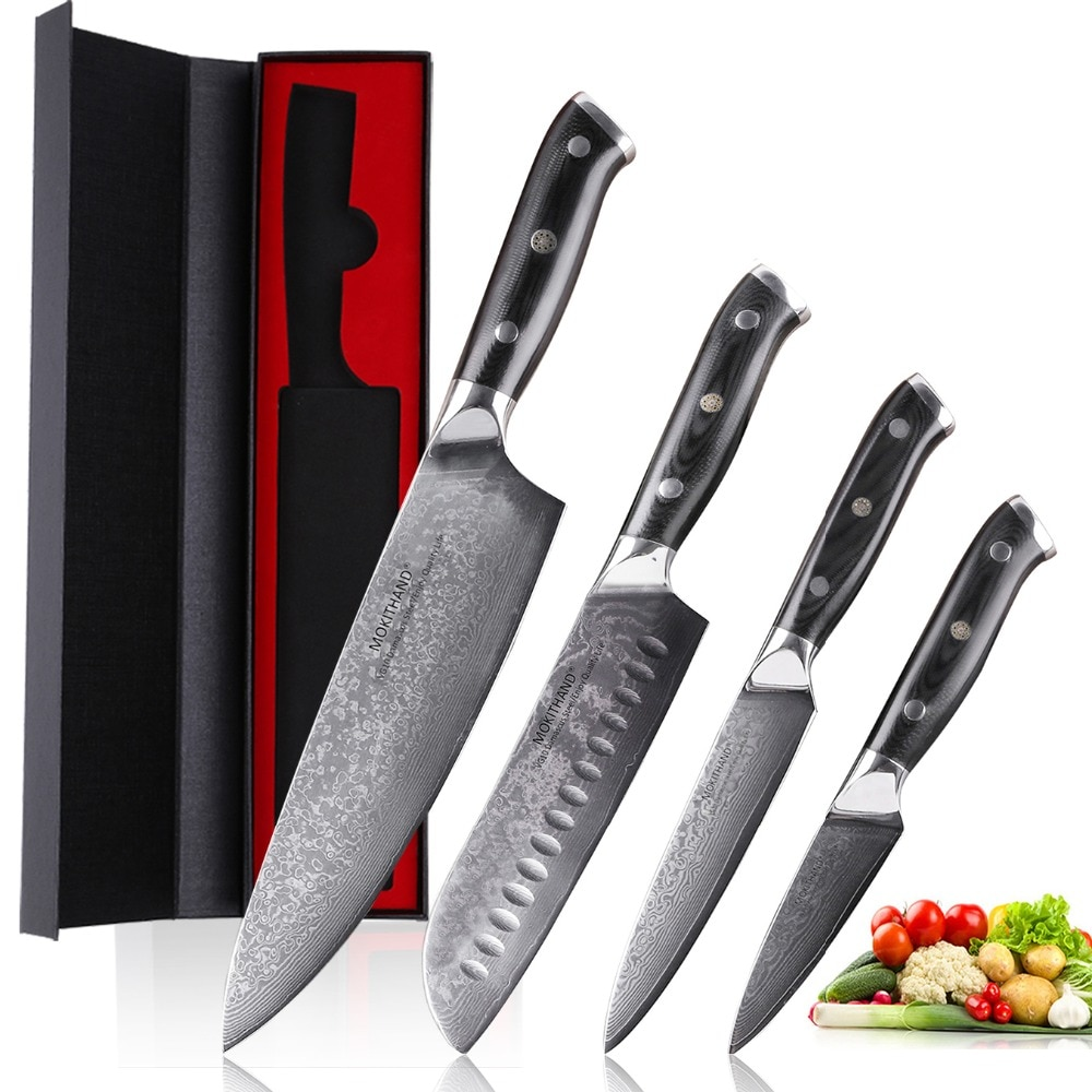 Mokithand 4 шт. японский кухонный нож наборы Дамаск Сталь ножей шеф-повара 67 Слои Sharp VG10 Кливер Пособия по кулинарии Ножи