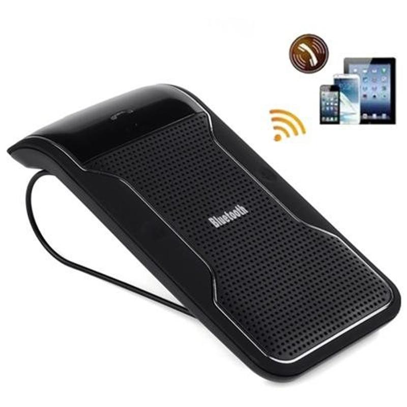 Nuevo Negro inalámbrico Bluetooth Kit de manos libres para coche manos libres parasol Clip distancia de 10m para iPhone teléfonos inteligentes con cargador de coche