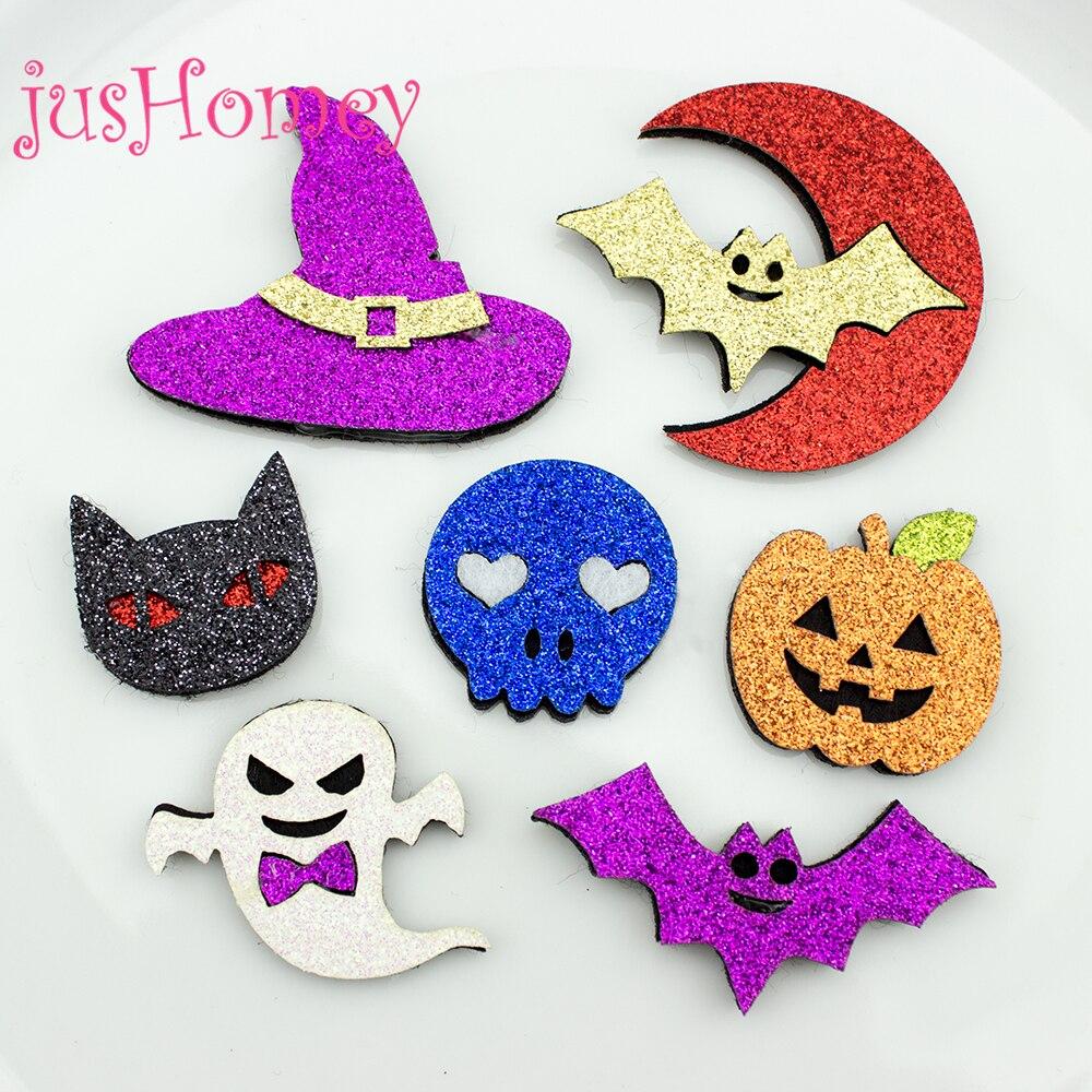 Parches de Halloween de tela brillante de 14 piezas-calabaza de Halloween, gato, fantasma, Calavera, murciélago, sombrero de Mago-para Clips de pelo DIY, álbum de recortes
