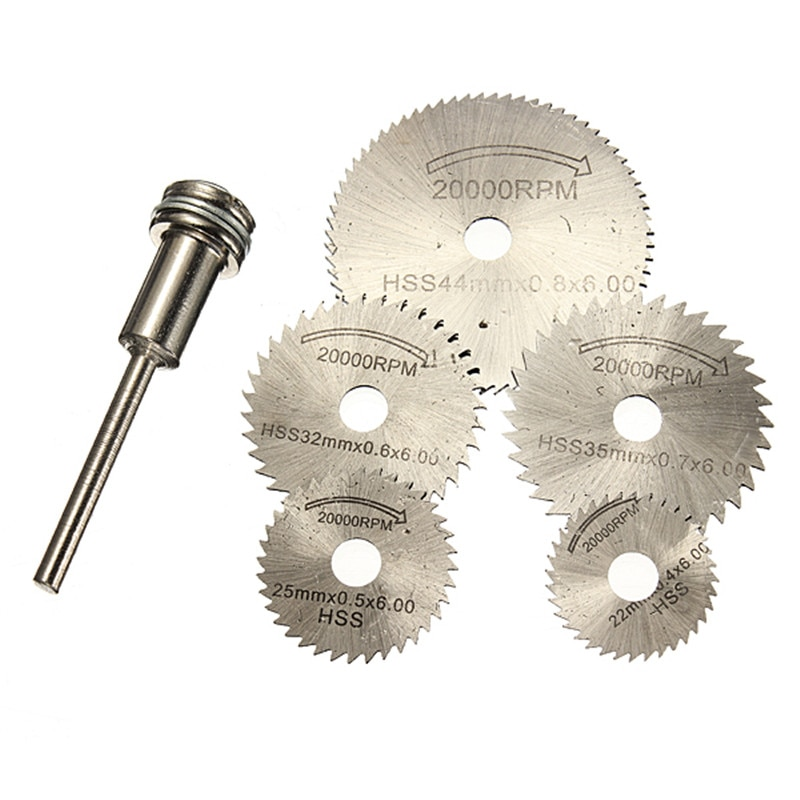 6 unids/set Mini HSS sierra Circular cuchillas herramienta rotativa para dremel cortador de Metal herramienta de mano conjunto de corte de discos de diamante mandril