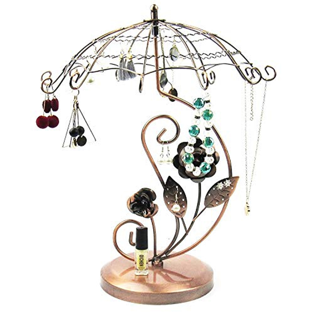 SZanbana, estante Estante de presentación de joyería de hierro giratorio, pendiente colgante para el hogar, colgante de gota, colgante de almacenamiento, sombrilla dorada rosa
