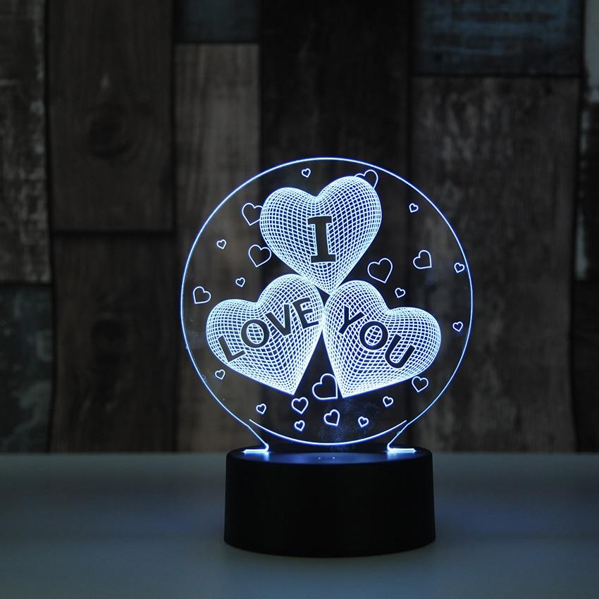 I love you 3D globos forma de corazón LED Luz de noche romántica atmósfera lámpara iluminación caliente decoración de la boda amantes regalos de pareja
