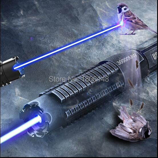 Más Potente quemador láser Cannon 450nm 500000m 500W SOS linterna azul láser puntero quemar madera seca luz cigarros de caza