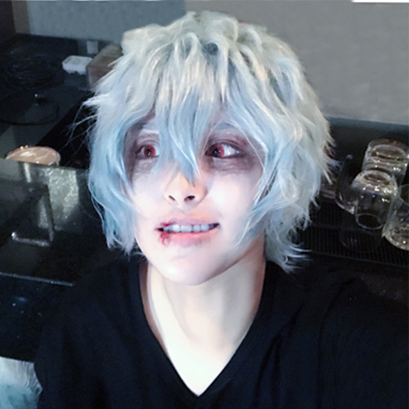 Mi héroe Academia Boku no Hiro Akademia Shigaraki Tomura corto gris azul mezclado Cosplay Anime pelucas + tapa de la peluca