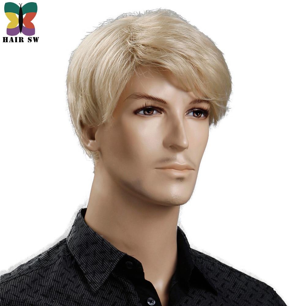 Pelo sintético SW 6 pulgadas rubio corto Peluca de pelo natural para hombres peinados rectos fibra resistente al calor