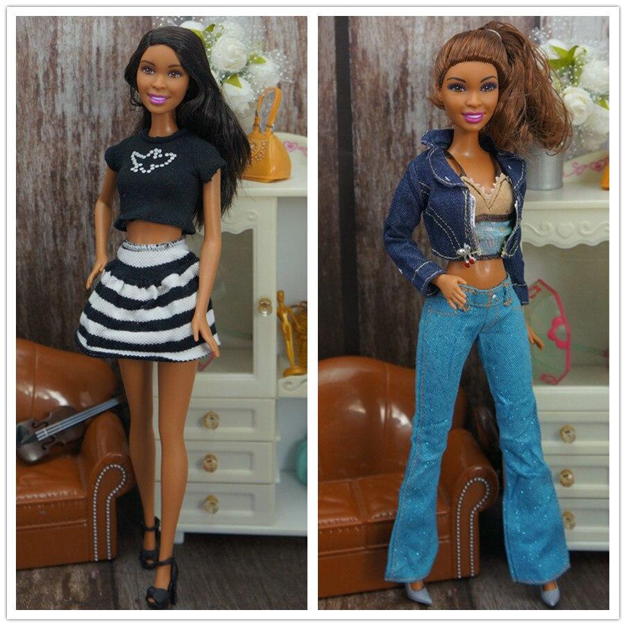 Muñeca Africana Original con conjunto de ropa/muñeca de piel marrón 1/6/juguetes para niñas/muñeca + conjunto de ropa + zapatos