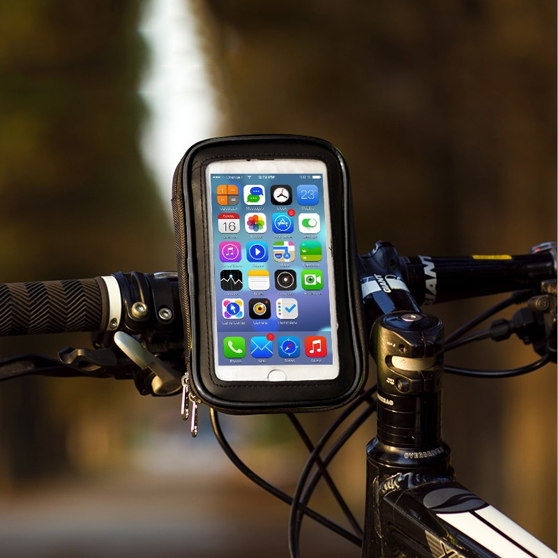 100% nuevo Soporte de bicicleta GPS Soporte de teléfono de motocicleta Soporte móvil para iPhone 6 6S 7 Plus bolsa impermeable Soporte móvil Moto