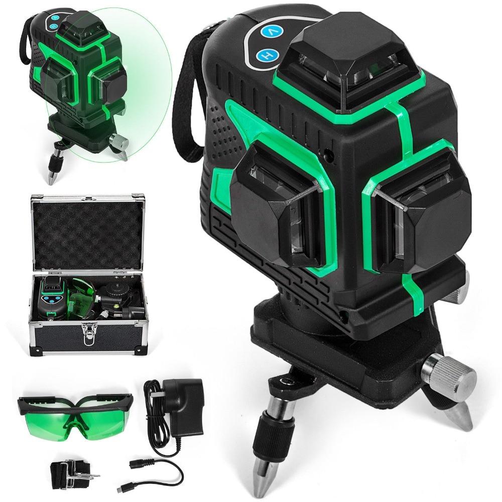 ليزر ثلاثي الأبعاد أخضر ذاتي الاستواء مكون من 12 سطرًا ، 360 درجة ، تقاطع أفقي ورأسي دوار