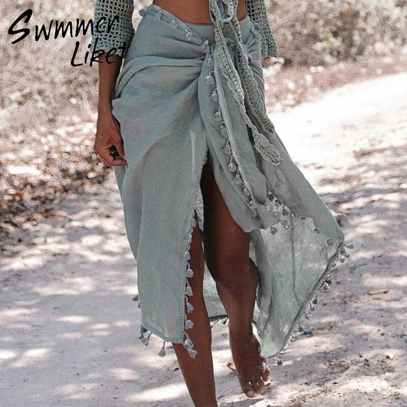 Sexy playa cubrir Ups flecos Wrap Skirt Bikinis 2019 traje de baño femenino traje de baño mujeres opaco Pareo verano playa desgaste sarongs de gasa