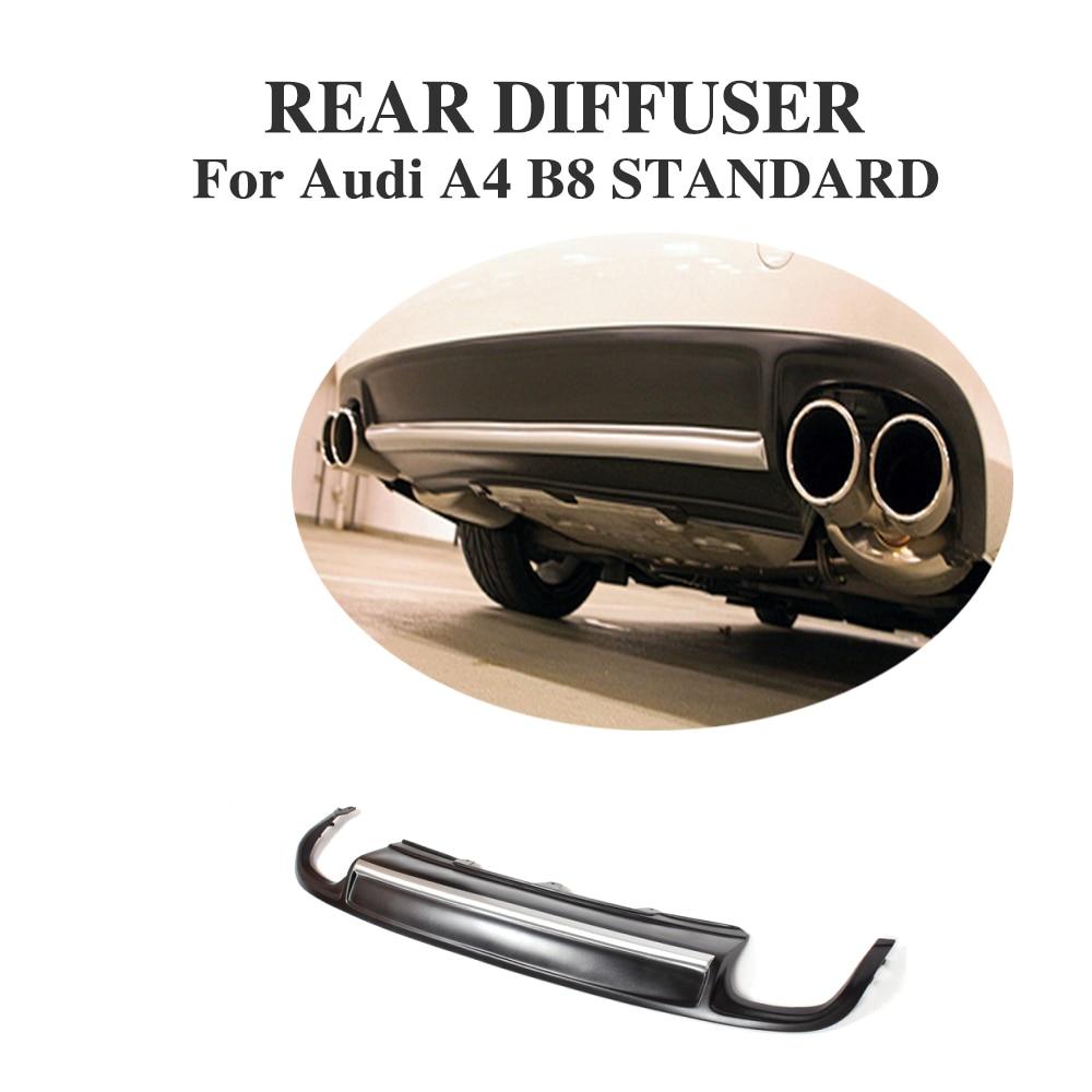 Diffuseur de lèvres pare-choc arrière PU   Pour Audi A4 B8 berline 2009-2012 ligne Non-S Quad échappement à double sortie