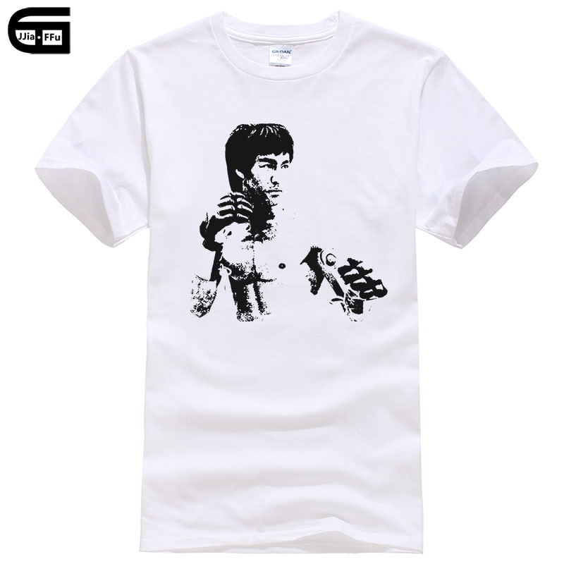 Футболка с коротким рукавом для мужчин, летняя модная футболка с принтом в стиле кунг-фу, суперзвезд, Брюса Ли, T148