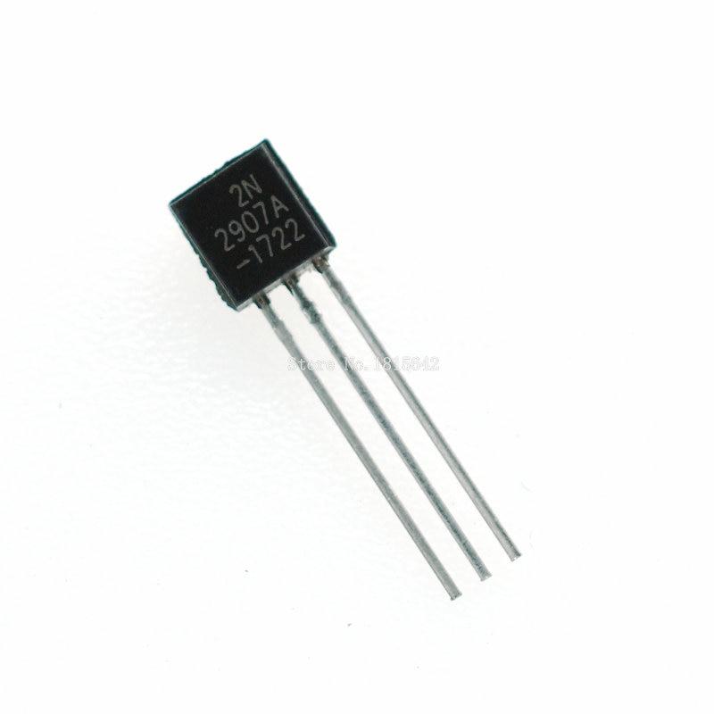 100 unids/lote 2N2907A transistor triodo PNP silicona PLANAR transistores a 92 0.8A 60V PNP 2N2907
