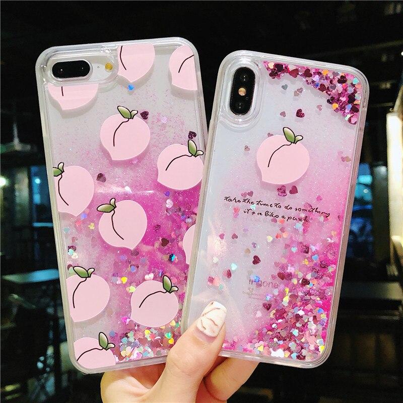 Melocotón brillo corazón amor estrellas casos para iPhone X 7 8 8 Plus líquido arenas movedizas de silicona Flamingo para iPhone 7 plus 6 S 6 P