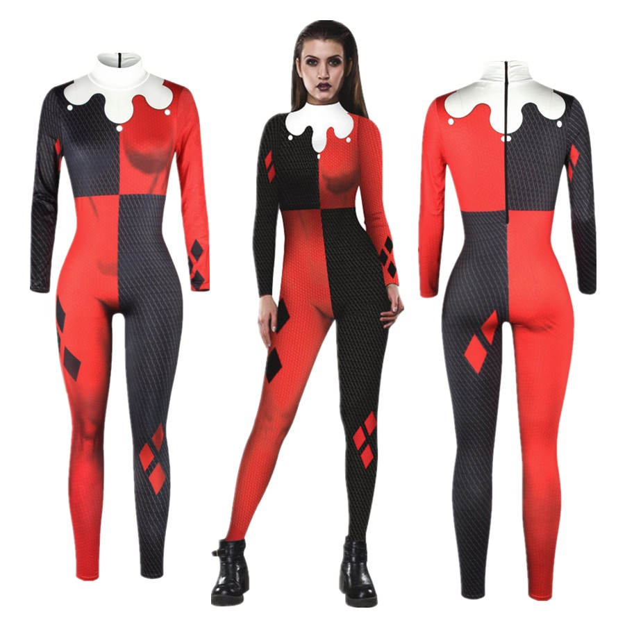 Отряд Самоубийц, Харли, костюм Квинн, сексуальный костюм для косплея, костюмы на Хэллоуин, Женское боди, нарядное платье