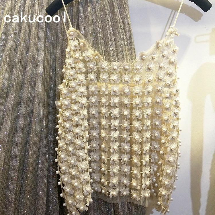 Cakucool-توب نسائي بدون أكمام مطرز باللؤلؤ ، توب صيفي رائع ، دانتيل ، نمط عتيق ، فلورال ، ملابس نسائية
