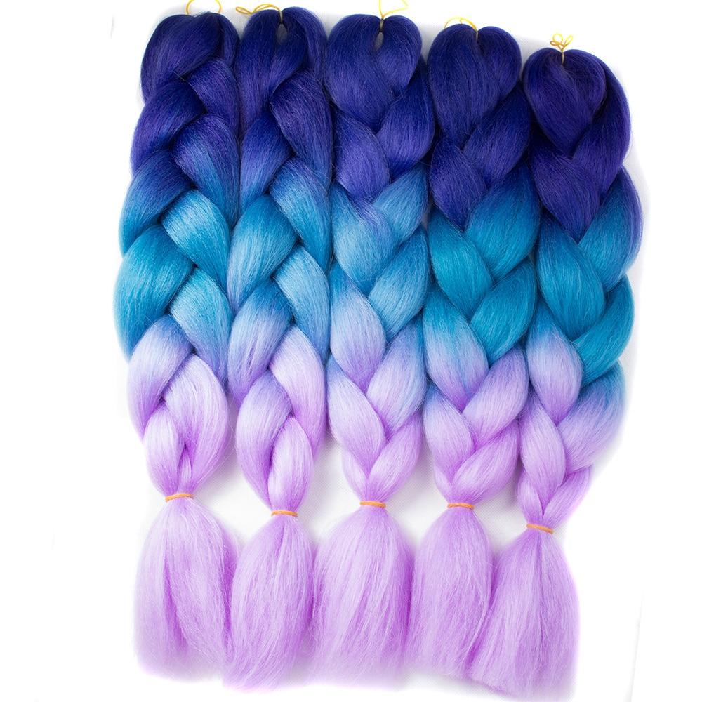 QP волос Плетение волос 10 шт 24 ''большие синтетические косы 100 г/шт. с эффектом деграде (переход от темного высокого temperature fiber пряди для на...