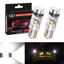 2Pcs Car light 1156 BA15S P21W LED r5w Bulb 1100LM Car Back Up Reverse Lights Brake Lights Lamps Tail lights Auto led White 12V