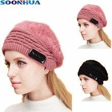 SOONHUA Rabbit Fur Caps Wireless Bluetooth Earphone Smart Headset Headphone Winter Warm Outdoor Sport Stereo Elastic Music Hat