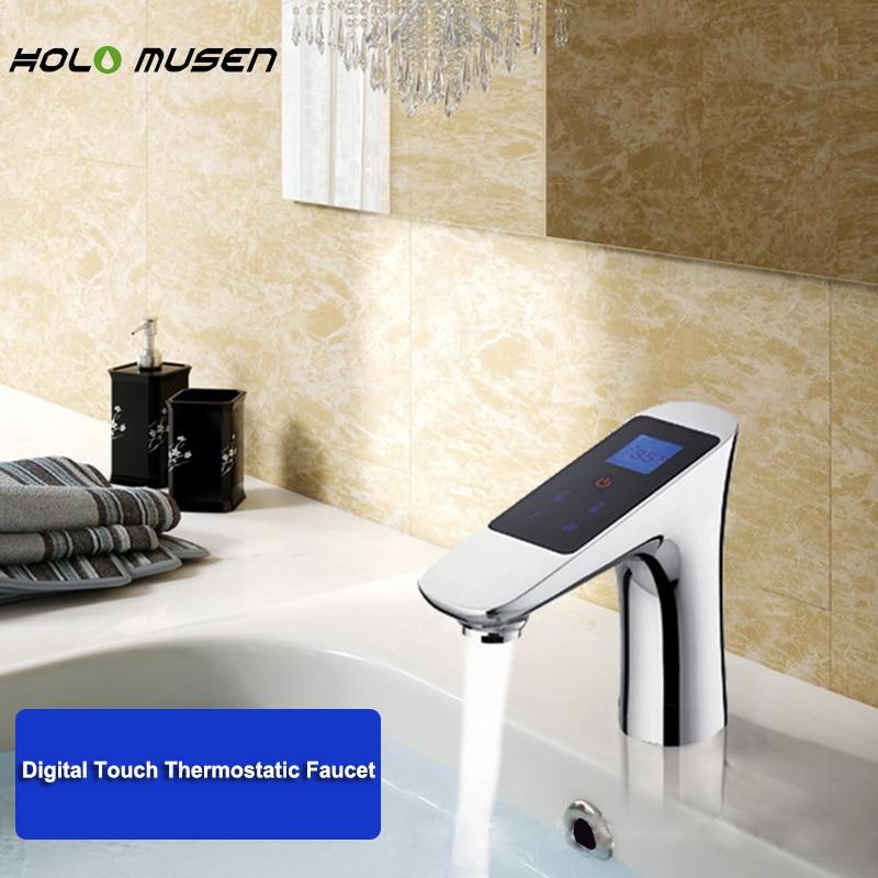 Termostato cromado 220V termostato de grifo Digital Control de flujo de temperatura LCD pantalla táctil termostato Digital inteligente grifo