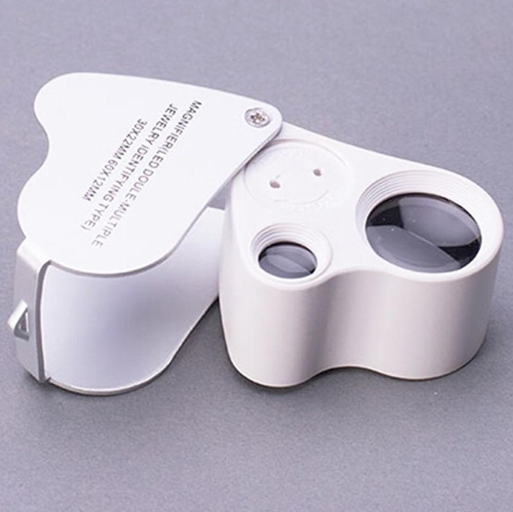 30X 60X Dual Lens Mini Microscópio de Bolso Lupa Lupa Joalheiro com Luz LED Fantástico