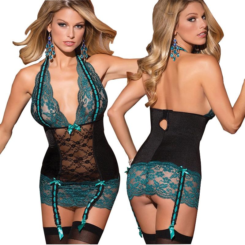 2019 lencería Sexy de encaje picante con escote en V profundo Babydoll ropa interior lazo flor patrón tentación traje femenino exótico ropa 45