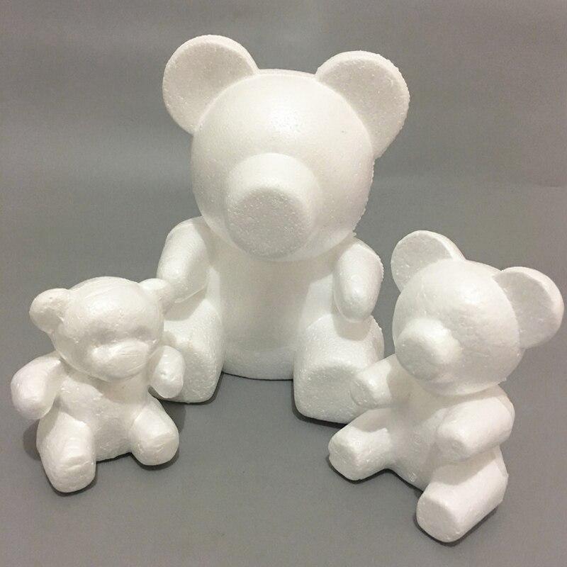 Molde de urso de espuma branca de isopor de poliestireno diy presentes de festa do dia dos namorados _ wk