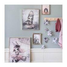Toile de peinture pour fille   Jolie décoration, Art mural, toile daquarelle, impression de lapin de dessin animé mignon, cadeau