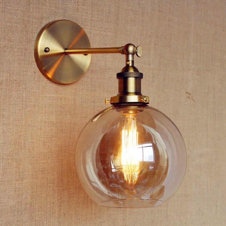 مصباح جداري LED صناعي على الطراز العتيق ، إضاءة داخلية ، كرة زجاجية ، نمط Edison ، دور علوي ، مصباح بجانب السرير