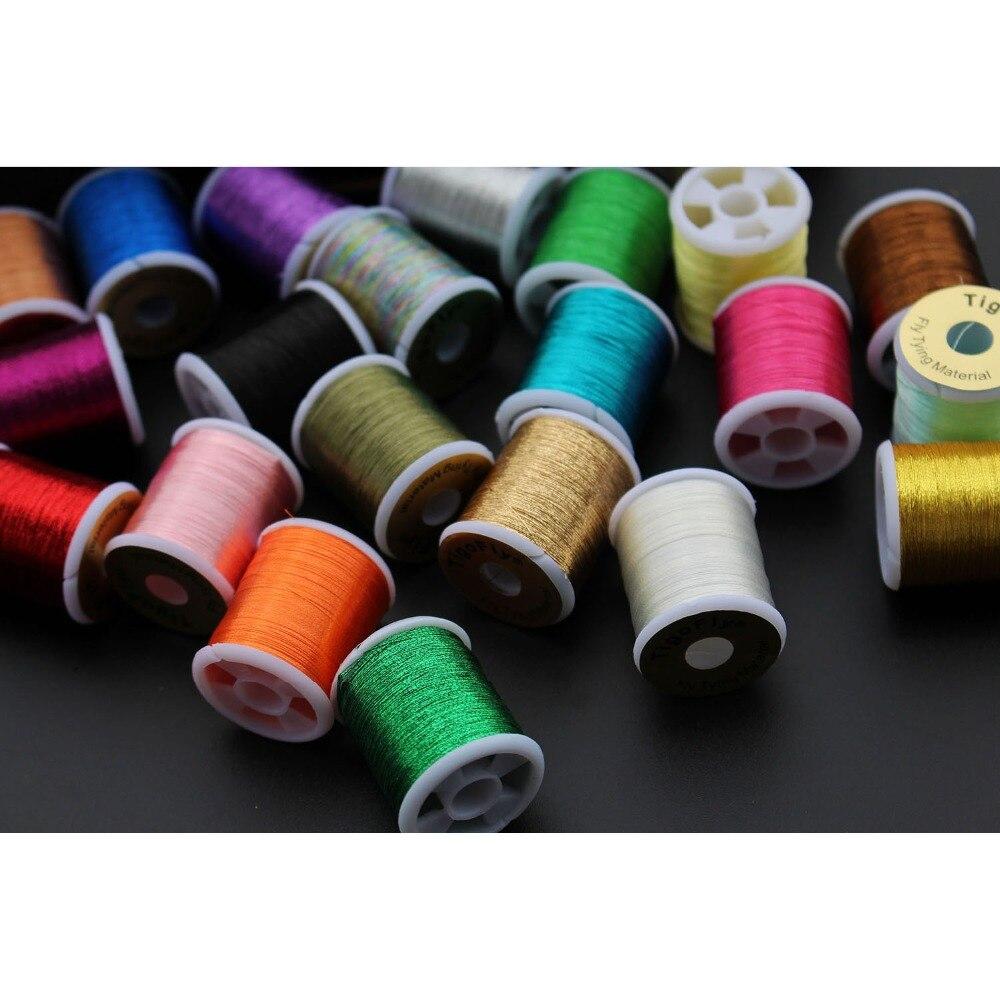 Купить с кэшбэком Tigofly 20 assorted colors Small Glitter Tinsel 150D Thread 40 yards fishing fly tying tinsel line materials