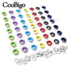 Металлические разноцветные Люверсы с отверстиями, 5 мм, 100 шт., с люверсами для кожевенного ремесла, обувь для скрапбукинга, кепка, сумка, тег, аксессуары для одежды