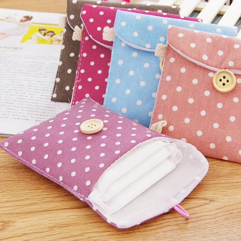 Cute Women Travel Small Portable Cosmetic Bag Wave Point Make Up Case Beauty Wash Organizer Storage