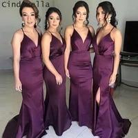 cinderella purple v neck halter mermaid cournt train side slit backless silk satin bridesmaid dresses wedding party gown