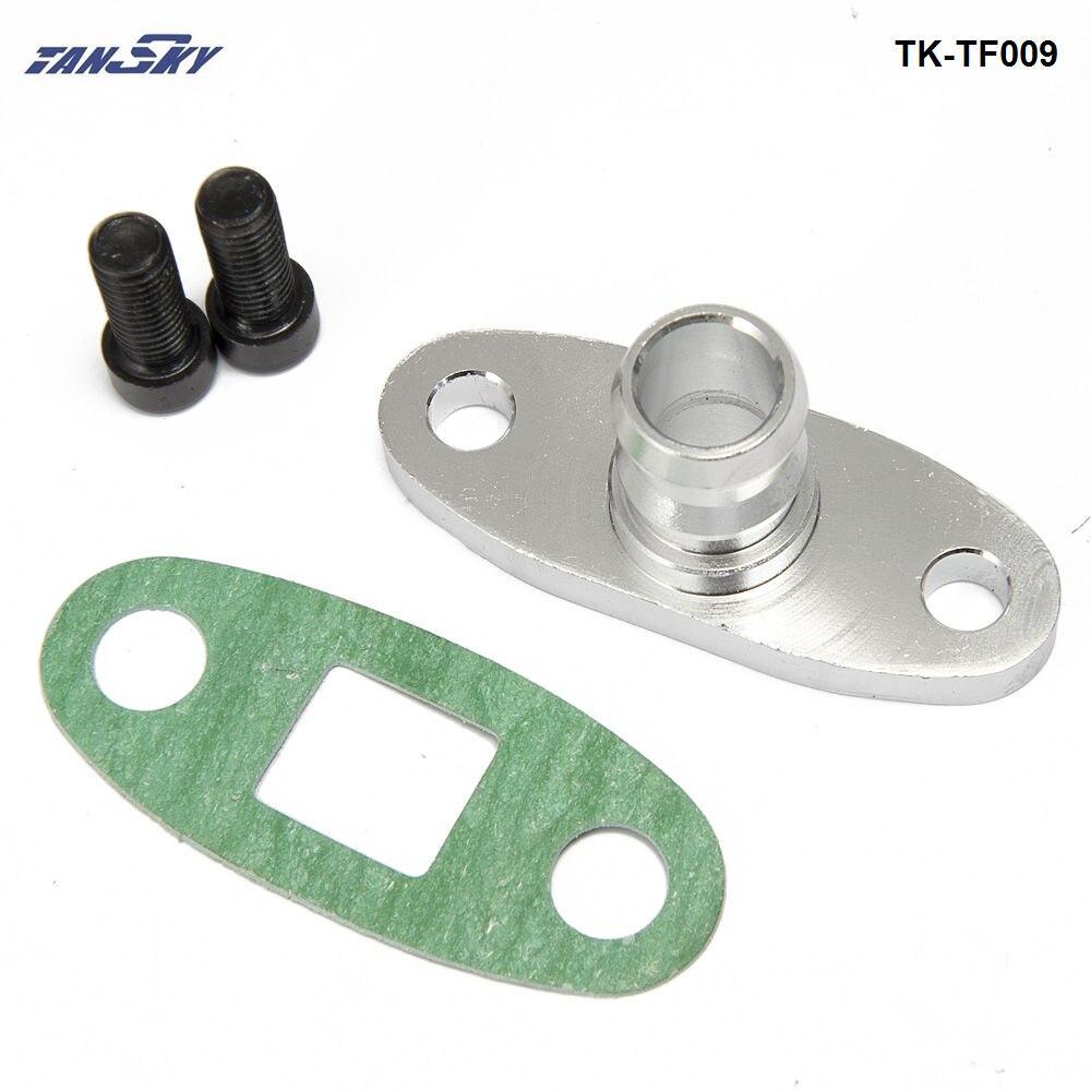 "Alumínio turbo óleo dreno adaptador 5/8 ""ajuste t3 t3/t4 gt37 gt40 gt42 gt45 gt47 turbocharge com parafuso TK-TF009"