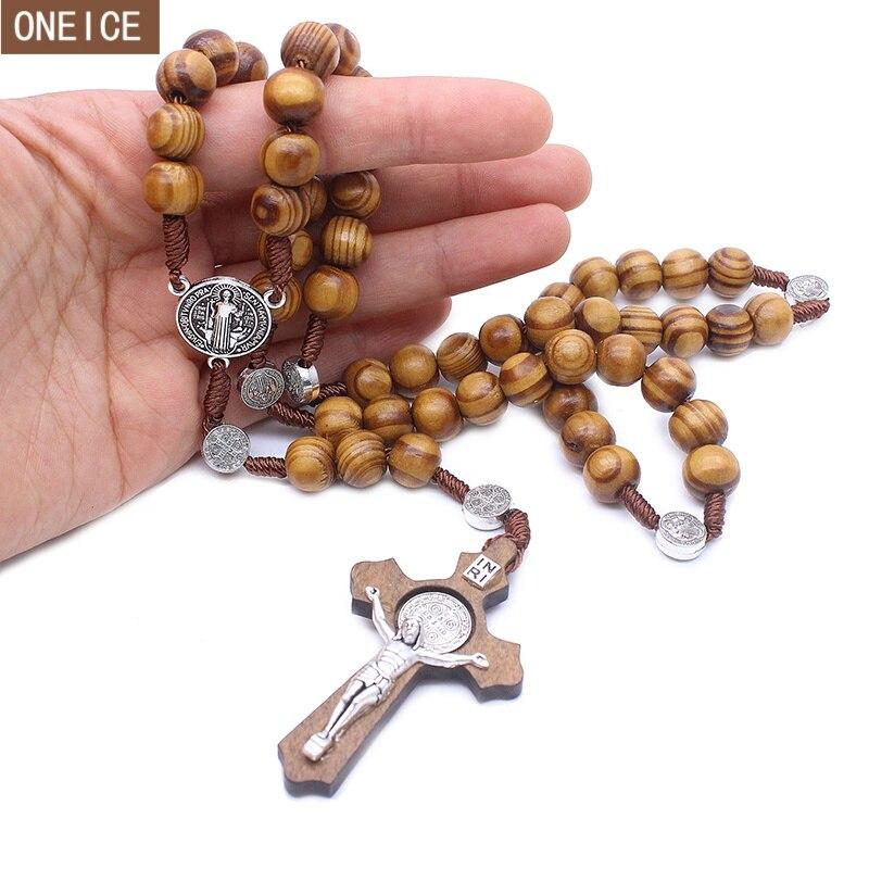 Cruz estilo vintage masculino wear feminino católico cristo rosário de madeira contas cruz pingente de metal jesus colar