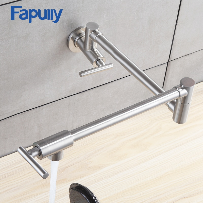 Fapuly Kitchen Tap Wall Mounted Pot Filler Faucet Double Joint Spout Brushed Nickel Mixer Taps Single Handle Kitchen Faucet 501 brushed stainless steel pot filler faucet lead free with dual joint swing arm and aerator surface deck mount kitchen mixer tap