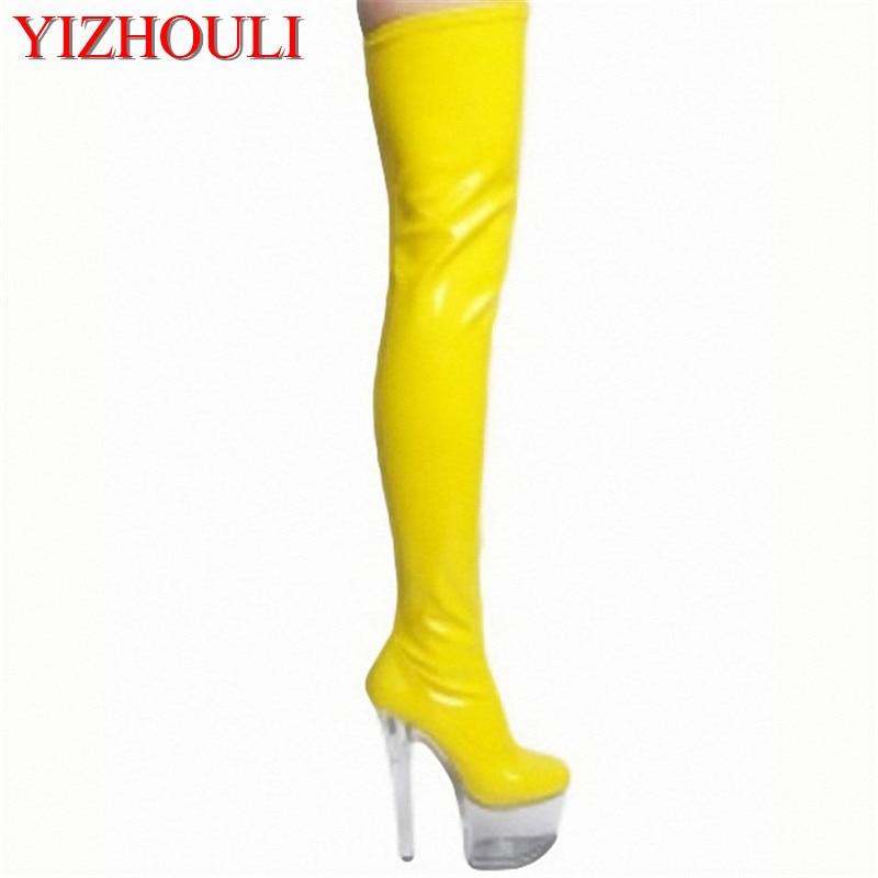 Necesaria 15 cm superfino y sexy botas modelo runway shoes Noble temperamento rodilla-Altos zapatos de baile