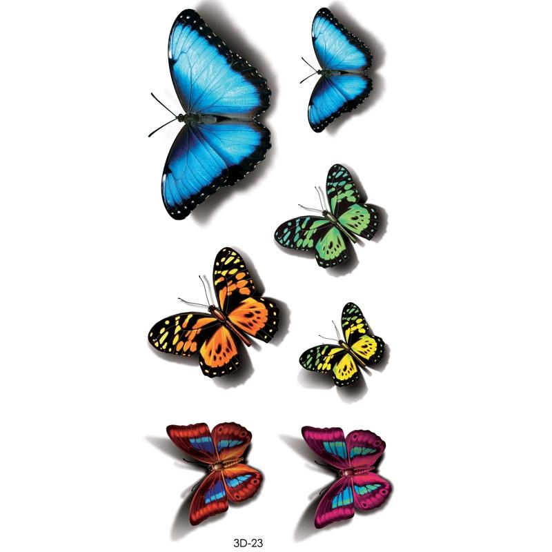 Calcomanía de tatuaje de mariposa de Color 3D calcomanía de arte corporal mariposa voladora pegatinas de tatuaje temporal de papel a prueba de agua